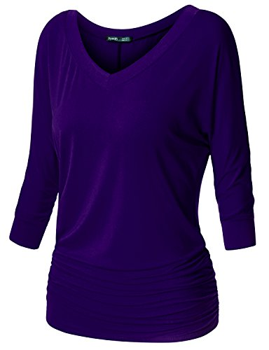 TWINTH Womens Dolman Sleeves Drape Tops Solid Side Shirring Jersey Tee Purple XXX-Large