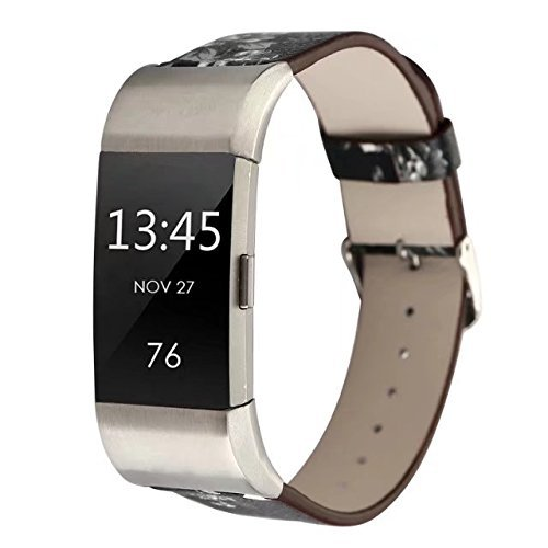 Conelelife For Fitbit Charge 2 Band, Floral Print Wrist Bands Strap Bracelet Replacement Watchband Accessories for Fitbit Charge 2 Smartwatch Fitness Tracker (Black+Gray) by Conelelife (Image #4)