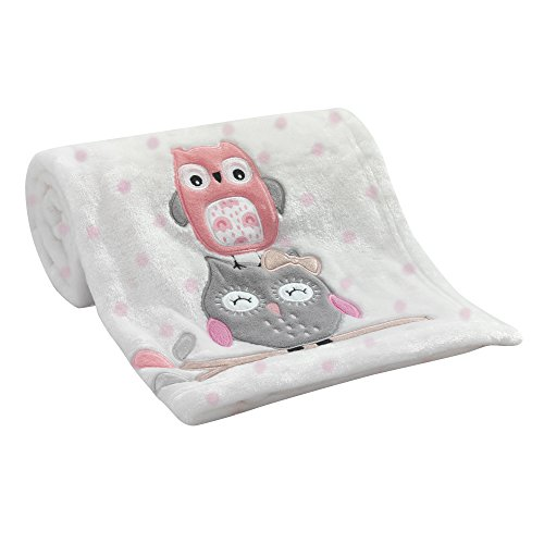 - Lambs & Ivy Family Tree Coral/Gray/Gold Owl Blanket