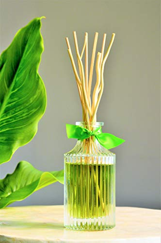 Manu Home Fresh Reed Diffuser Set | Clean, Refreshing, Energizing Aroma of Lily-of-The-Valley, Jasmine, Rose Ylang and Sandalwood | Best Essential Oils Used ()