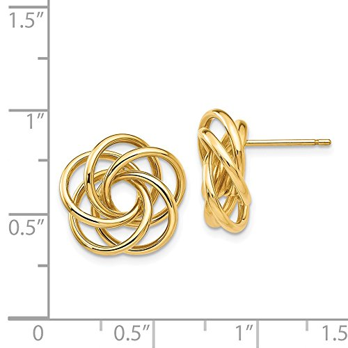 14kt Yellow Gold Polished Love Knot Post Earrings by Perfume4All (Image #2)