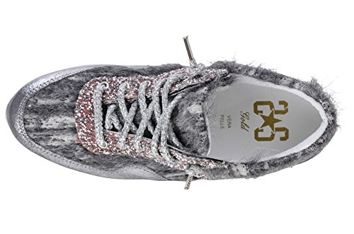 2Star 36 Textile Women's Sneaker Gold Shoes Silver 0Uw8xndv