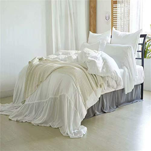 BRLMALL Microfiber Mermaid Ruffle Washed Solid White Duvet Cover Set Queen with Tie Closure Corner Tie