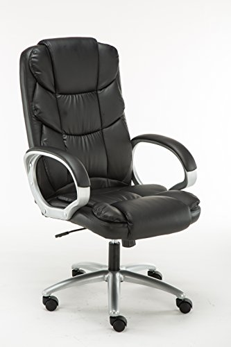 BTExpert Premium Ergonomic High Back Leather Executive Office Chair, Computer Desk Swivel, Black
