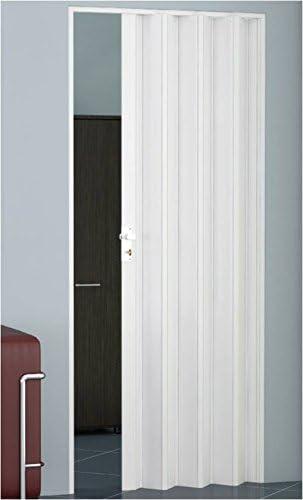 GRANISUD Puerta Plegable CORREDERA EN PVC UNA Hoja 82 cm x 204 cm Alto Color Blanco Ahorro DE Espacio