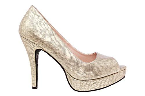 Andres Machado. AM5003.Peep-Toes en Soft y Plataforma.Mujer.Tallas Pequeñas/Grandes. 32/35-42/45. Grab Oro.