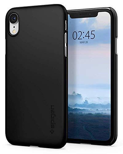 【Spigen】 スマホケース iPhone XR ケース 6.1インチ 対応 薄型 軽量 傷防止 カメラ保護 Qi充電 ワイヤレス充電 対応 ハードカバー シン?フィット 064CS24864 (ブラック)