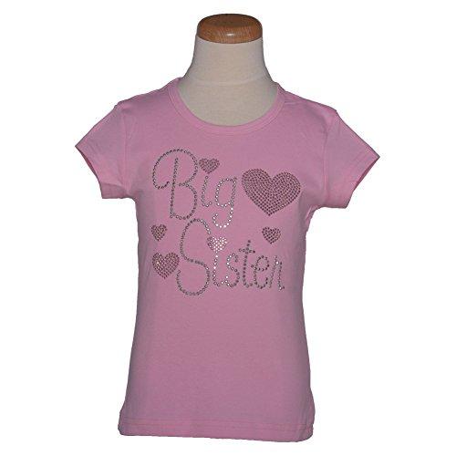 1286 Kids Little Girls Pink Big Sister Hearts Cotton T-shirt 3-6M