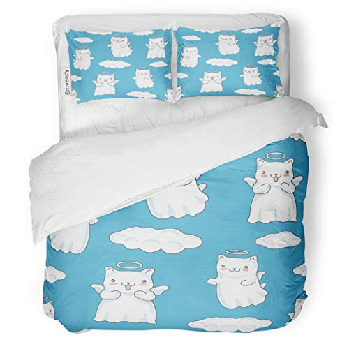 SanChic Duvet Cover Set Clouds Cartoon Cats Pictured As Little Angels Wings Decorative Bedding Set with 2 Pillow Cases King Size ()