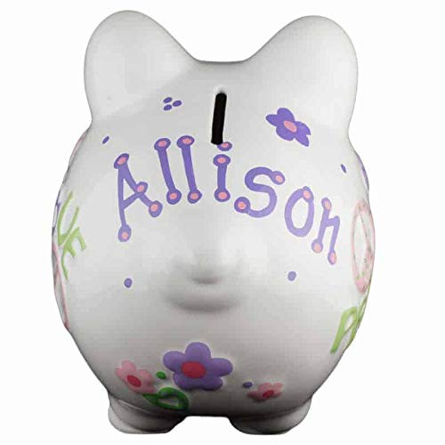 First Financial Toy For Teaching Boys /& Girls About Saving Money Personalized /& Custom With Name And Year Perfect Unique Gift Idea For Babys 1st Birthday Peace /& Love Girls Piggy Bank Small -