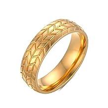 Mrsrui Men Fashion Wave Car Tires Engagement Ring Wedding Band Gold Ring Stainless Steel