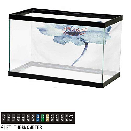 """Aquarium Background,Watercolor,Artistic Design of a Spring Flower with Blue Tones Birth of Life Theme Print,Pale Blue Fish Tank Backdrop 48"""" L X 18"""" H"""