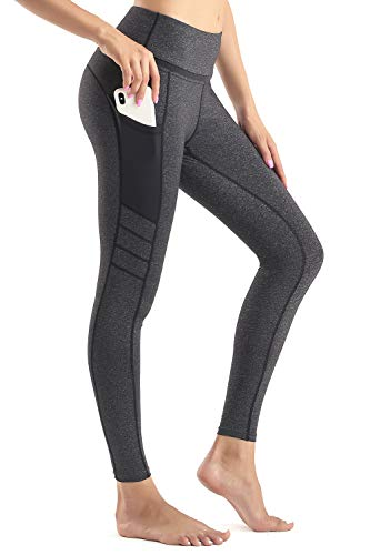 Sunzel Yoga Pants for Women with Pockets High Waist Workout Running Leggings Tummy Control 4-Way Stretch Black.