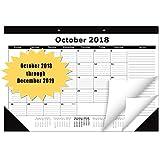 Desk Calendar Planner October 2018 - December 2019 Academic Year Wall Calendar 17'' x 12'' Schedule Planner Keeper Chic Monthly Desk Pad Calendar for Office House or as Gift Desk Calendar