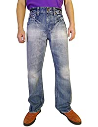 Men's Fashion Bootcut Blue Jeans Regular Fit Mens Work Pants