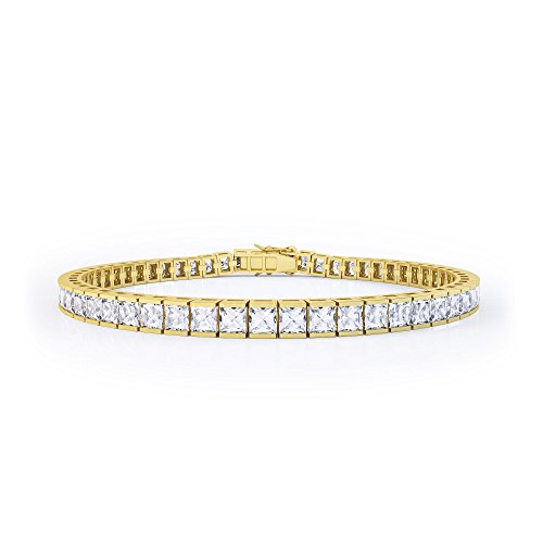 Princesse Saphir Blanc Bracelet de Tennis en or (7in)