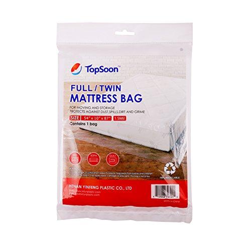 TopSoon Mattress Storage Bag Mattress Disposal Bag Full/Twin Size 54-Inch by 87-Inch Clear ()