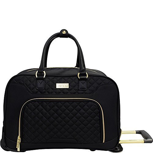 kensie 19'' Rolling Fashion Duffel Tote, Black with Gold Color Option