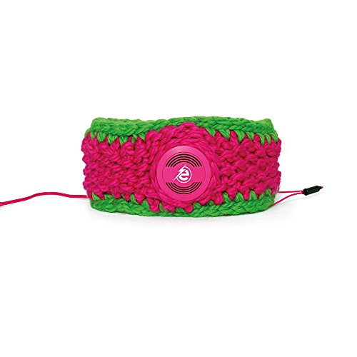 Earebel Green & Pink Hand Knitted Headband with Built-In Pink AKG Headphones, Kent by Earebel powered by AKG