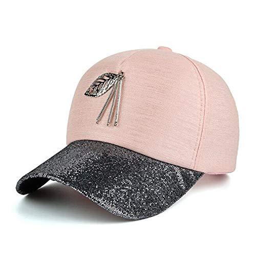 メタルリーフブリングバイザー野球帽 シャイニング ガールズ 野球帽 女性 キャップ,ピンク,調節可能な