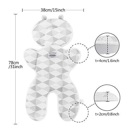 Luchild Baby Head Support Pillow Breathable 3D Mesh Cool Seat Mat Cushion Liner for Stroller Car Seat High Chair Pushchair - Gray