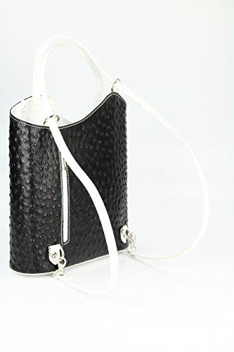Belli - Bolso mochila  de cuero repujado para mujer negro negro 28x28x8 cm (B x H x T)