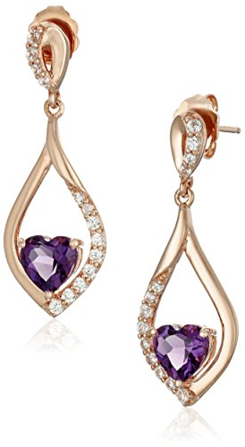 xpy-sterling-silver-rose-gold-plated-amethyst-heart-with-created-white-sapphire-accent-drop-earrings