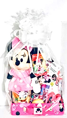 MINNIE MOUSE 16 In 1 Easter Birthday Baskets for Kids Girls Baby Toddler 2 year old Prefilled Holiday Basket Stuffers Stuff PREMADE Fillers Party Favors Includes Keepsake Bath Bomb. Perfume Kit, Stickers, 14 Inch Plush Toys, Eggs, Assorted Candies Complete Gift Set TIN BASKET Mega Bundle