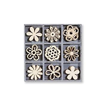Kars De madera Embellecedor Caja - Flor Fantasía - 45 piezas 3cm (juego 3): Amazon.es: Juguetes y juegos