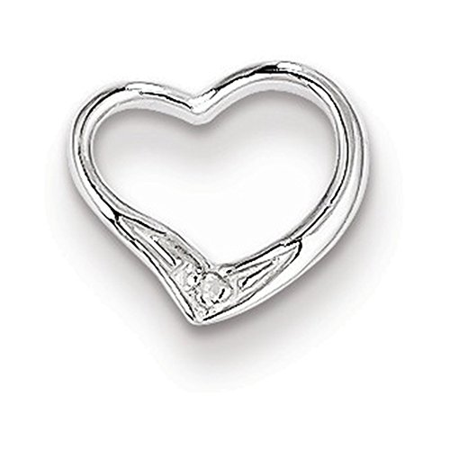 Sterling Silver Rhodium Diamond Floating Heart (Floating Diamond Heart Bracelet)