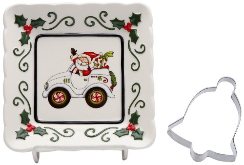 Cosmos Gifts 10657 Santa Driving Car Plate with Bell Cookie Cutter, 5-1/2-Inch