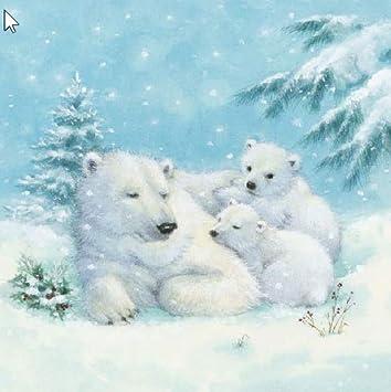 20 Servietten Polarbar Eisbar Kinder Geburtstag Winter 33 X 33cm
