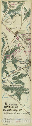 Historic 1862 Map | Plan of The Battle of Chantilly, Va, September 1st, 1862, 5 to 10 p.m. 12in x 44in