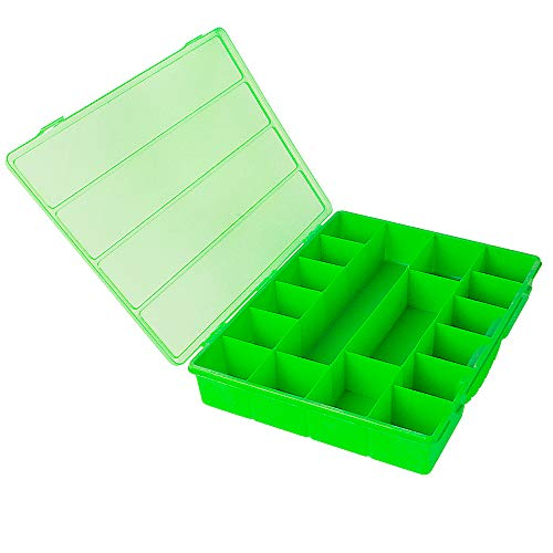 Novelinks Transparent Clear Jewelry Storage Box - 17 Compartments Plastic Jewelry Organizer Container Box (Green)