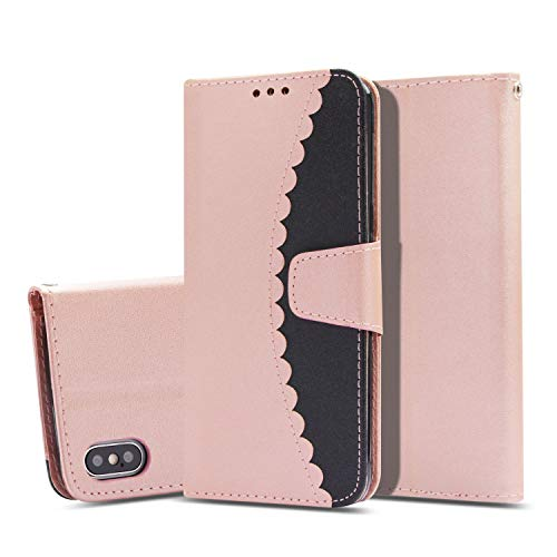iPhone Xs Max Case, UZER Premium PU Leather Flip Folio Wallet Case with Kickstand Card Holder ID Slot and Hand Strap Shockproof Protective Durable Magnetic Book Case for iPhone Xs Max 6.5 Inch 2018