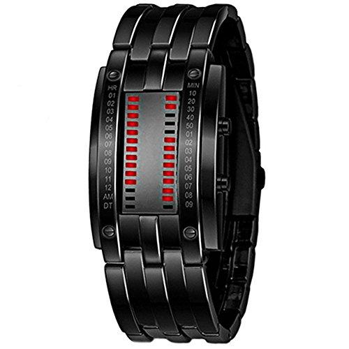(Luxury Men's Black Stainless Steel Date Digital LED Bracelet Sport Watches (Red LED))
