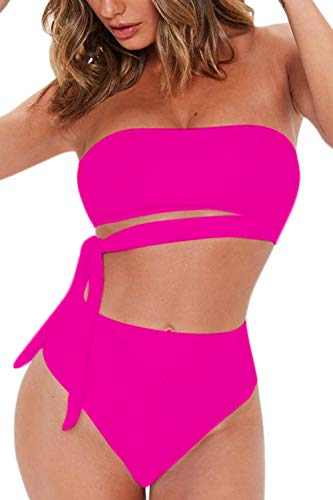 (FAFOFA Women's Sexy Bandeau Tie Waist High Waisted Two Pieces Bikini Set Swimsuit (S, Rosy))