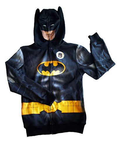 Batman Mask Hoodie Zipper Jacket with Full Face Mask (XL) - Mask Zipper Hoodie For Boys