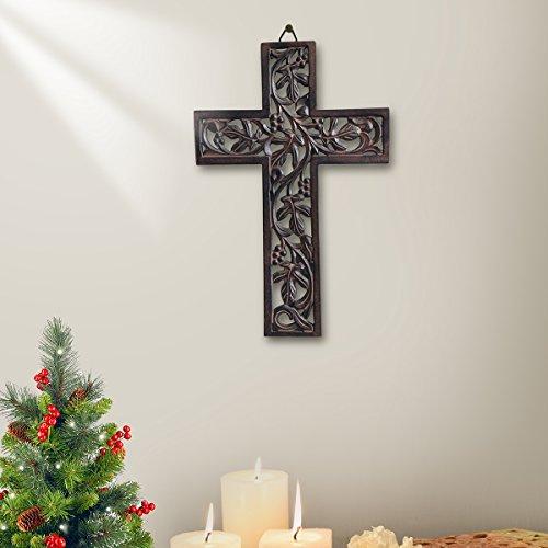 Hanging Cross (Wooden Wall Hanging Cross Handmade Antique Design Religious Altar Home Living Room Décor Accessory (Design 1))