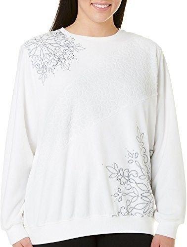 Alfred Dunner Northern Lights Asymmetric Embroidery Anti Pill Fleece Sweatshirt Ivory (Anti Pill Fleece Pullover)