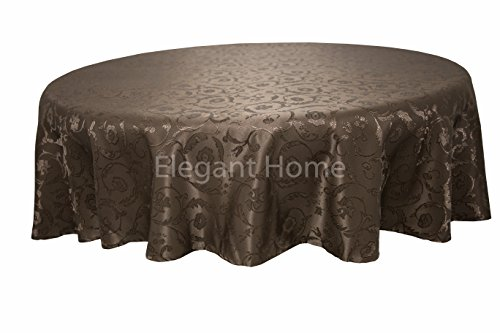 - Elegant Home Dark Brown Coffee Chocolate Floral Jacquard Rectangle Tablecloth Heavy Weight Fabric Table Cover for Kitchen Dinning Tabletop Linen Decor (70