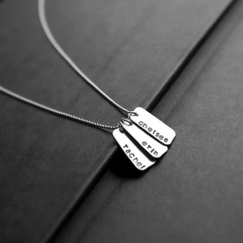 - Hand Stamped Sterling Silver Mini Dog Tag Name Necklace