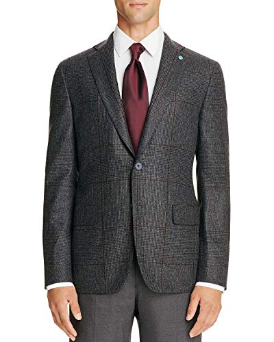 Isaia Wool - Eidos by Isaia Mens Slim Fit Glen Plaid Wool Sportcoat 40R Charcoal Made Italy
