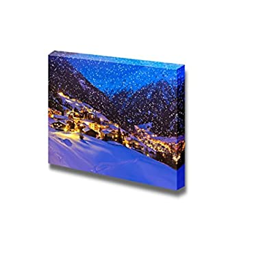 Canvas Prints Wall Art - Beautiful Scenery/Landscape Mountains Ski Resort Solden Austria | Modern Wall Decor/Home Decoration Stretched Gallery Canvas Wrap Giclee Print & Ready to Hang - 16