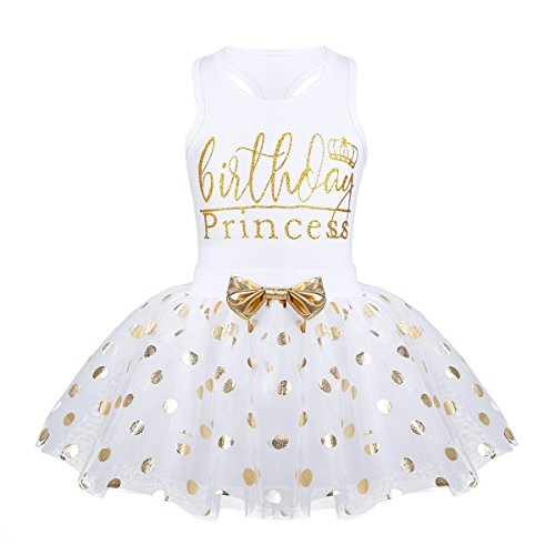 - Alvivi Baby Toddlers Girls' Fancy Birthday Outfits Racer-Back Shirt with Shiny Polka Dots Tutu Skirt 2pcs Set White 5-6