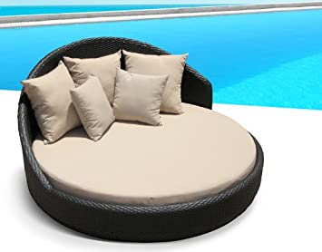 Outdoor Patio Wicker Furniture Pool Lounge All Weather Garden Round Double  Bed Set U2026 (tan