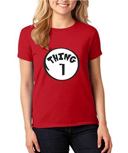 Women's Tee (2000L) Thing 1 Dr Seuss Halloween T- Shirt M Red ()