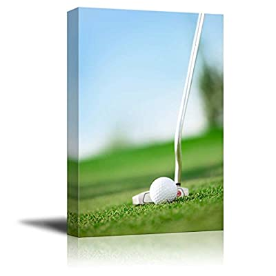 Canvas Prints Wall Art - A Golf Club with Golf Ball on a Golf Course | Modern Wall Decor/Home Art Stretched Gallery Canvas Wraps Giclee Print & Ready to Hang - 48