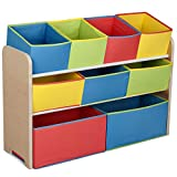 Delta Children Deluxe 9-Bin Toy Storage Organizer, Natural/Primary