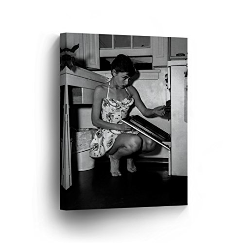 Audrey Hepburn Wall Art CANVAS PRINT in the Kitchen Portrait Black and White Iconic Decoration Framed Home Decor Stretched and Ready to Hang -%100 Handmade in the USA - 17x11